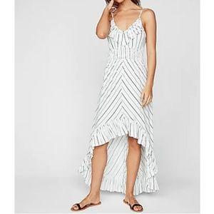 Express Striped Ruffle Smocked Waist Maxi Dress